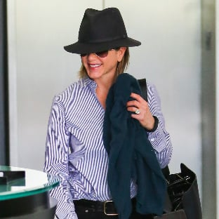 Jennifer Aniston Wears Hat Over Short Hair in LA