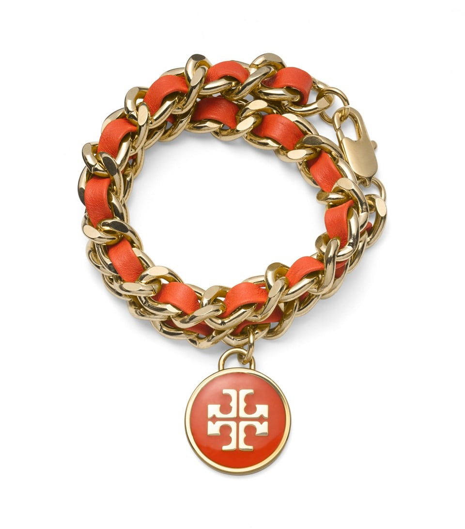 Tory Burch Leather and Chain Wrap Bracelet