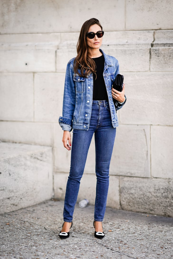 with a denim jacket and luxe heels  jeans outfit ideas
