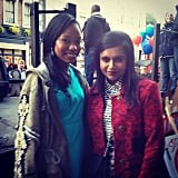 Kaling posed with her costar Xosha Roquemore, who plays Tamra on the show. Source: Instagram user mindykaling