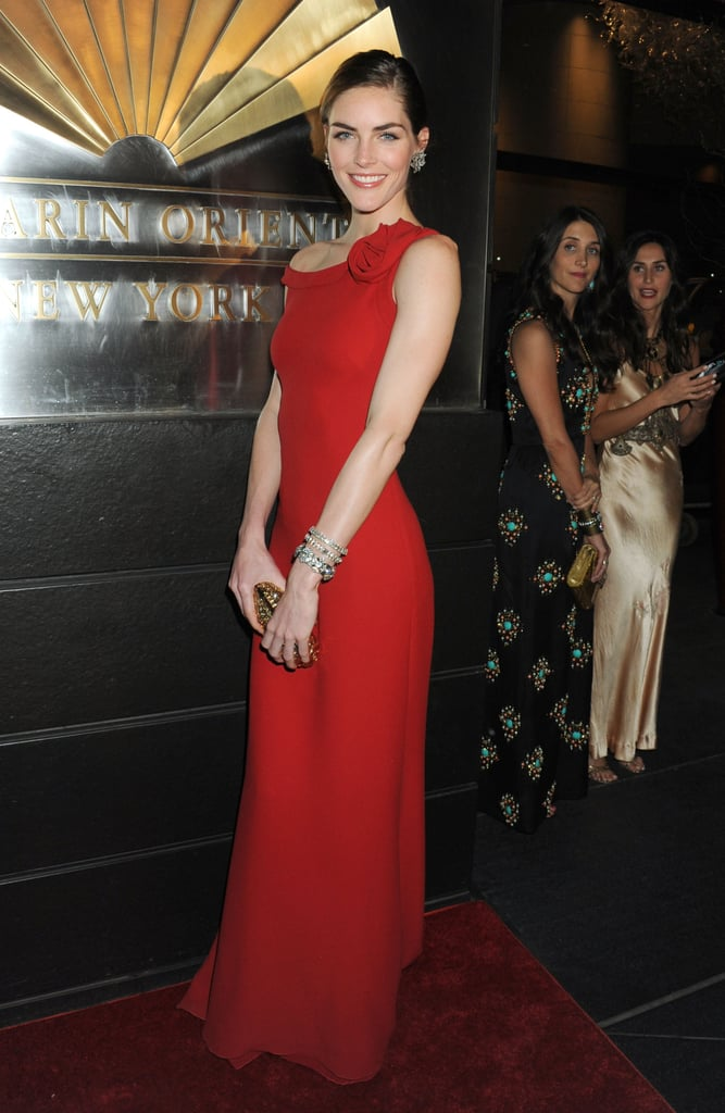 Hilary Rhoda was a vision in a fiery and totally feminine Valentino gown at the New Year's in April fete in NYC.