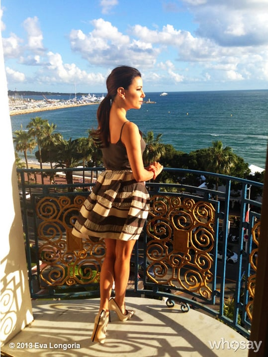 Eva Longoria Dressed In A Playful Striped Skirt Shared This Photo Cannes Festival Fashion