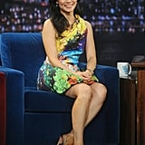 Lucy Liu went bold in a Mary Katrantzou fishbowl dress for an appearance on Late Night With Jimmy Fallon.