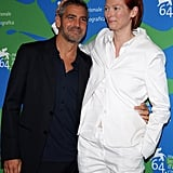 George Clooney joked around with Tilda Swinton at the 2007 Venice Film Festival.