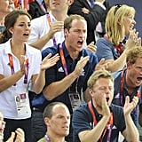 Will and Harry stood and shouted alongside Kate during the 2012 London Olympic Games.