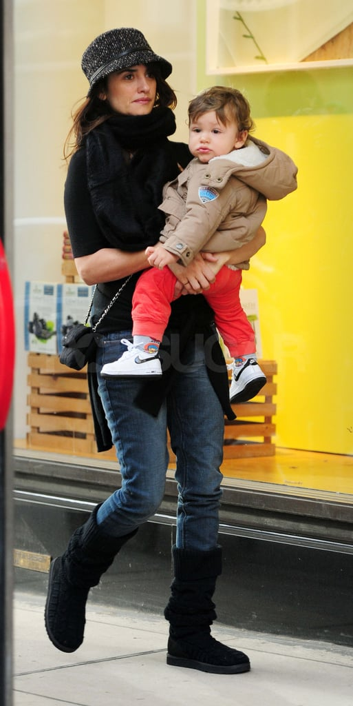 Penélope Cruz carried her son, Leo Bardem, on her hip around London this afternoon. The duo stopped at Whole Foods and later grabbed lunch at a restaurant in Chelsea. Little Leo, who turns 1 later this month, has grown up so much since we last saw him back in October. Since his birth, he's been around the world with his famous parents including a visit to Italy, where Penélope filmed Venuto al Mondo with Emile Hirsch. The movie will be released overseas later this year as will another project she made in Rome, Nero Fiddled. Her husband Javier's next big-screen project, Cogan's Trade, which also stars Brad Pitt, is set to hit US theaters in coming months.