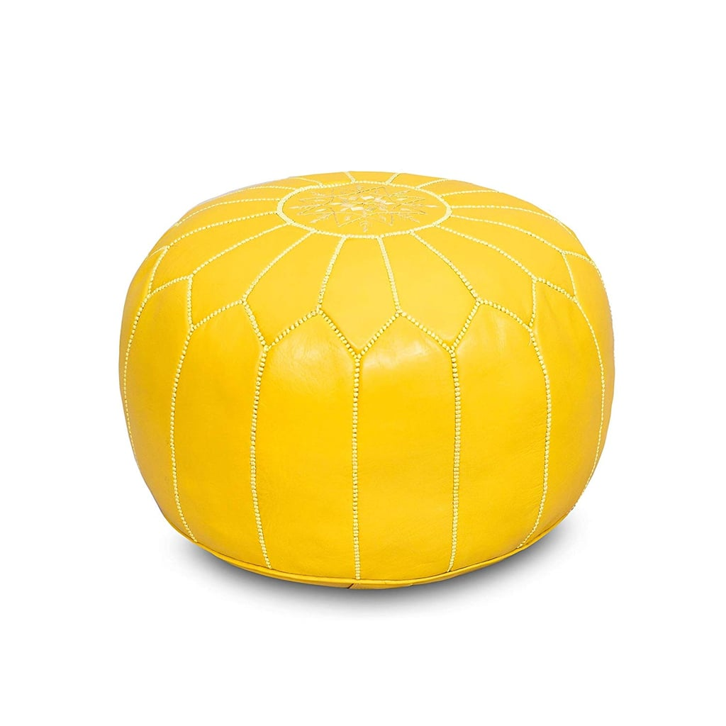 Moroccan Flair Leather Moroccan Pouf in Yellow