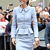 For her 2016 trip to the Netherlands, Kate channeled Jackie O in a pastel blue skirt suit by Diana's favorite Catherine Walker.