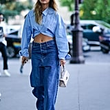 Go For a Denim-on-Denim Look, and Carry a White Bag