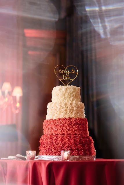 Give the classic white-tiered wedding cake a festive makeover.