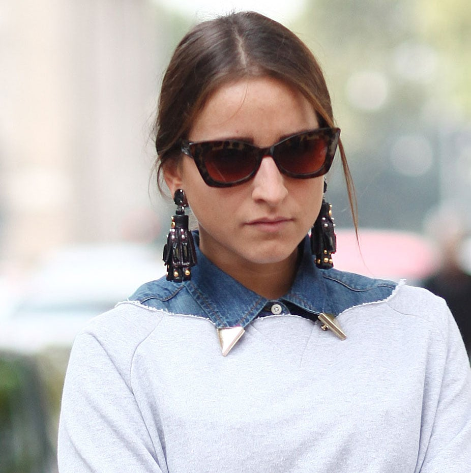 A gold-tipped collar added just a hint of interest, but the real statement-makers were those chandelier earrings. Source: IMAXtree