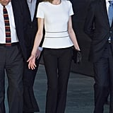 Queen Letizia White Top and Black Pants June 2016