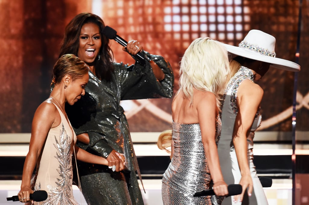 "Surprise! Michelle Obama had everyone shook when she showed up to the Grammys on Sunday night. The former first lady popped up on stage at the start of the ceremony alongside Lady Gaga, Jada Pinkett Smith, and Jennifer Lopez following Camila Cabello's energetic performance. Michelle talked about the importance of music, and to be honest, we almost missed the whole thing because we were too busy gasping for air.  ""From the Motown records I wore out on the Southside to the 'Who Run the World' songs that fuelled me through this last decade, music has always helped me tell my story,"" she said. ""Music helps us share ourselves, our dignity and sorrows, our hopes, our joys. Music shows us that all of it matters."" Michelle is currently in the midst of her Becoming press tour, but we're so glad she took time out of her busy schedule to bless us with an appearance.      Related:                                                                                                           Lady Gaga, Ariana Grande, and Everyone Else Who's Already Won a Grammy This Year"