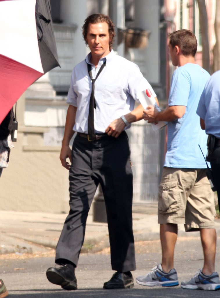 Matthew McConaughey suited up and reported to the set of The Paperboy on location in New Orleans yesterday. He joins an impressive cast of actors in the Lee Daniels-directed project including Nicole Kidman, Zac Efron, and John Cusack. Nicole and Zac made some major hair changes for the film; Nicole debuted platinum blond hair earlier in the week while Zac was seen leaving his trailer with lighter locks. Matthew seems to be sticking with his slicked-back curls in addition to his fresh-off-the-beach golden glow. It's been a relatively quiet, and clothed, Summer for Matthew, but we'll get to see more of his perfectly toned torso next week when we kick off PopSugar's annual shirtless bracket! For now he's logging time in front of the camera, and soon enough he'll hit the road promoting another project, Killer Joe. Matthew will join fellow heavy hitters like George Clooney and Brad Pitt debuting new films in the coming months at the Venice and Toronto International Film Festivals.