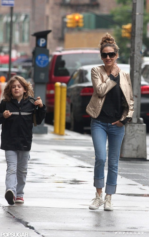 Sarah Jessica Parker and James Wilkie Broderick both sported tennis shoes as they walked in NYC.