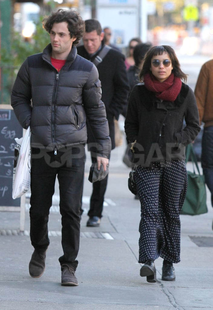 Penn Badgley and lady friend Zoe Kravitz took a walk in chilly NYC yesterday. Both Zoe and Penn were dressed to face the colder temperatures, and they added some additional heat to the outing by engaging in a little PDA. It seems she and Penn are going strong after she ended another relationship. Zoe Kravitz and Michael Fassbender were together for a good part of this year, though he's probably a hard one to pin down with his jet-setting schedule of film promotions; right now he's talking up both Shame and A Dangerous Method at film festivals and junkets around the world. Penn, though, is based in the Big Apple working on the new season of Gossip Girl.