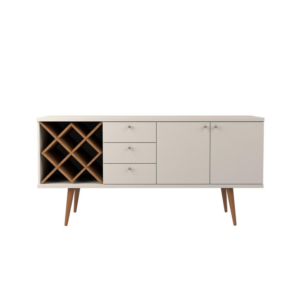 Manhattan Comfort Utopia Off-White and Maple Cream 4-Bottle Wine Rack Sideboard