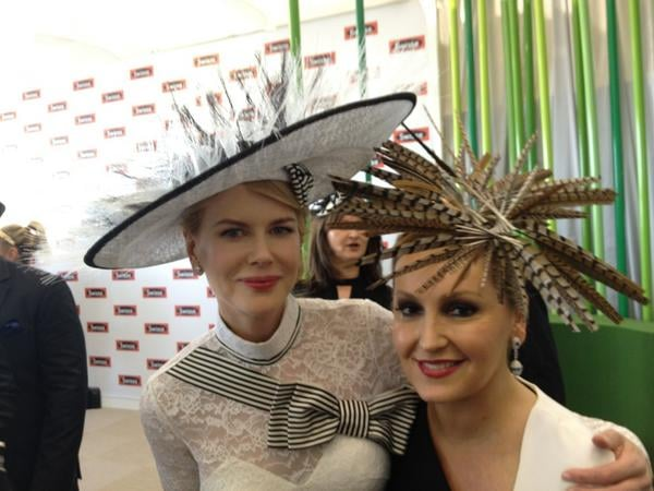 Nicole Kidman (in L'Wren Scott and a Stephen Jones hat) with Melissa Hoyer. Source: Twitter user melissahoyer