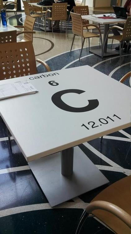"""The science building in my university has PERIODIC TABLES."" Source: Imgur user IHateOptimists"
