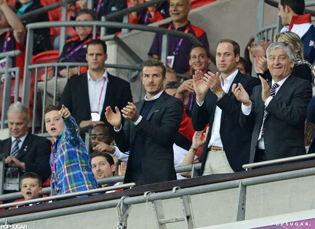 David and Brooklyn Beckham Support Team GB With Prince William