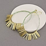 Gama Gold Fringe Mint Green Statement Earrings