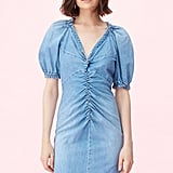 La Vie Drapey Denim V-Neck Dress