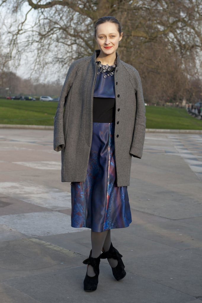 Gray hues anchored an abstract printed day dress with a classic, wintry sensibility.