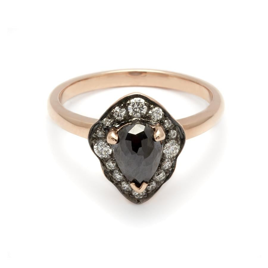 Camellia Petal Ring Rose Gold and Black Diamond