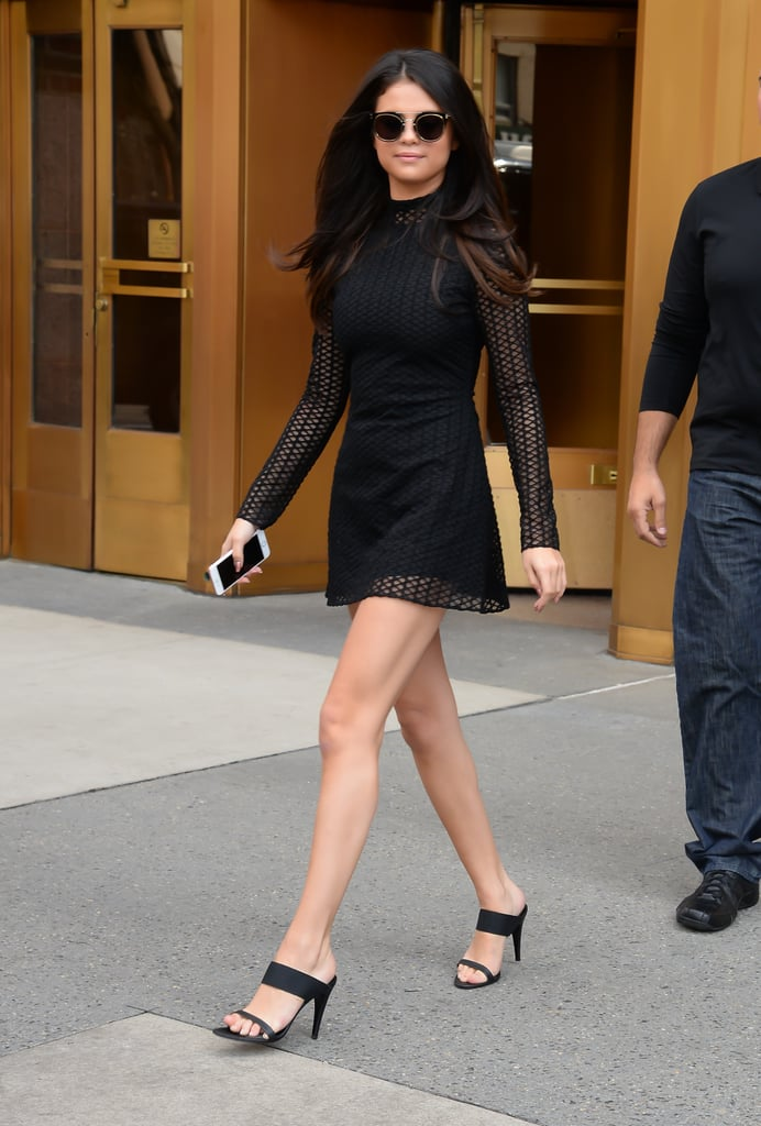 Fall staple: A long-sleeved turtleneck dress by David Koma. Selena wore it with: Her Jenni Kayne shoes and Dior sunglasses in New York in October 2015.