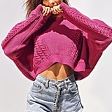BDG Slouchy High/Low Cable Knit Sweater