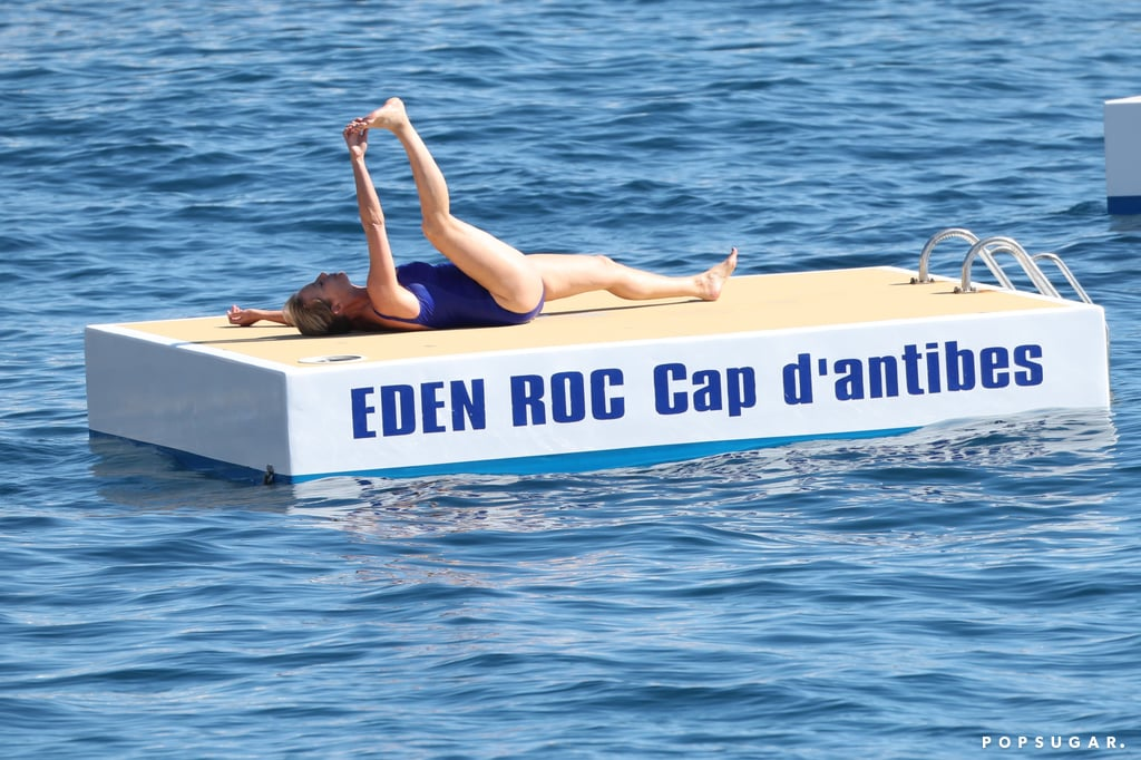 Emma Thompson is having way too much fun at the Cannes Film Festival, and we're kind of living for it. The actress, who has been hard at work promoting her new movie The Meyerowitz Stories with costars Adam Sandler and Dustin Hoffman, enjoyed some much-needed R&R on Saturday when she relaxed by the water at the Hotel du Cap Eden-Roc in Antibes, France. Wearing a bright blue swimsuit, the 58-year-old looked like she was having the time of her life as she soaked up the sun on a platform and jumped into the water while plugging her nose. She even got in a few leg stretches in between dips. Emma is proof that no matter your age, you never have to grow up.      Related:                                                                                                           May We All One Day Be as Carefree as Emily Ratajkowski in These Bikini Photos