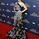 Rachel opted for a sheer one-shoulder Elie Saab gown that was embroidered with birds for a Doctor Strange launch event.