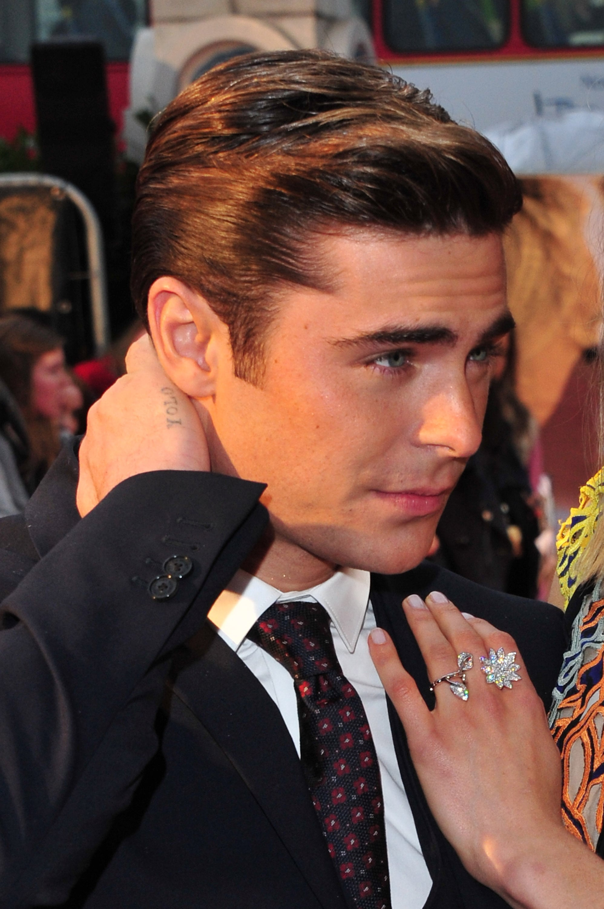 LONDON, ENGLAND - APRIL 23:  Actor Zac Efron (tattoo detail) attends