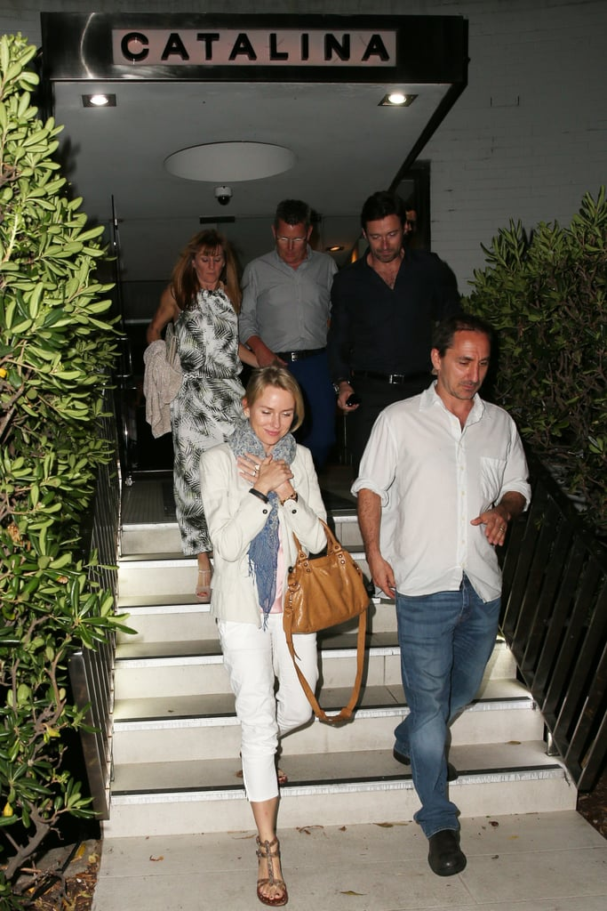 Hugh Jackman and Naomi Watts doubled up on their Aussie power for a fun date night with their significant others in Sydney on Wednesday. The Australian actors left the kids behind to go out to dinner, with Hugh and his wife, Deborra-Lee Furness, and Naomi and her partner, Liev Schreiber, all spotted exiting Catalina in Rose Bay together. Hugh, Naomi and Liev have all been spotted on the beach down under lately — Hugh was shirtless with a friend, while Naomi and Liev piled on the fun with their sons, Sasha and Kai. Keep reading to see more photos of their A-list date night.