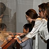 Angelina Jolie debuted her engagement ring in April 2012, when she, Brad Pitt, and Pax Jolie-Pitt looked at a piece from the Chinese collection at the Los Angeles County Museum of Art.