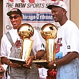 Michael Jordan and Scottie Pippen at a Rally in Chicago in 1996