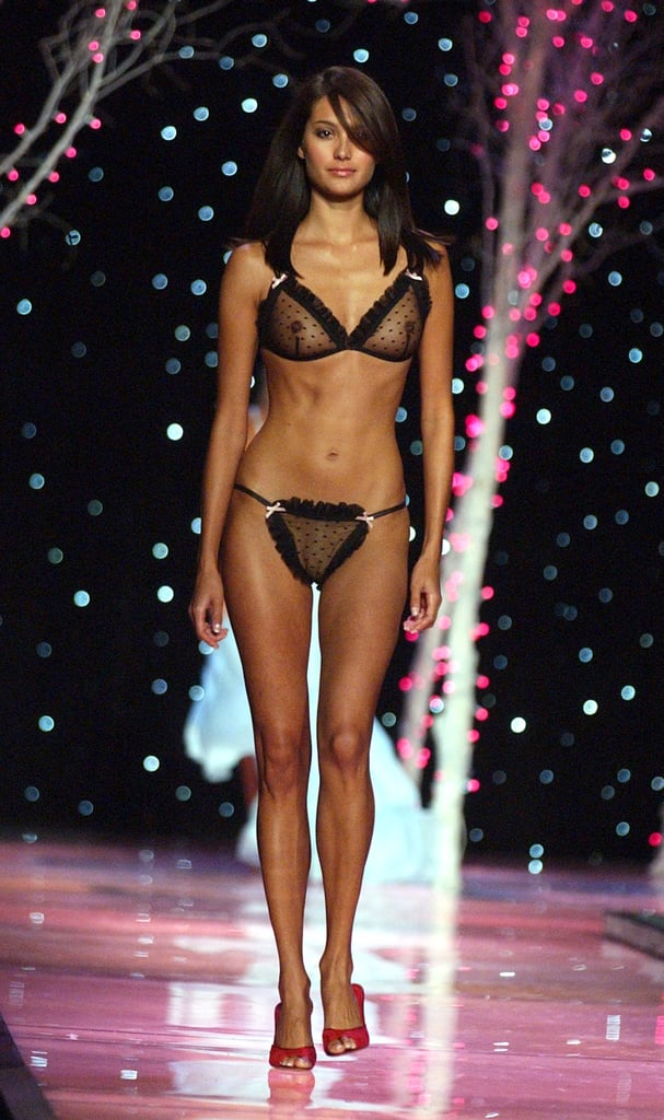 Emma Heming, the future wife to Bruce Willis, walked the runway in a sexy black Swiss-dot lingerie set in 2001.