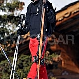 Prince William carried his skis while in France.