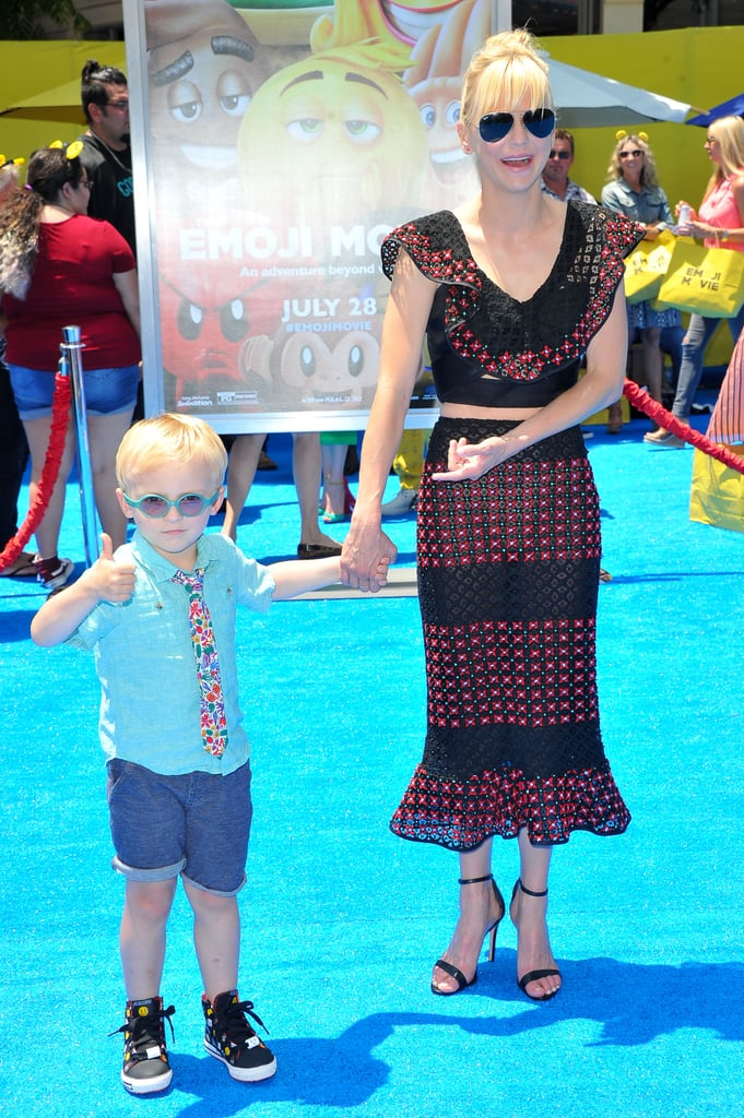 Anna Faris was in good company when she attended the LA premiere of The Emoji Movie on Sunday. After goofing off with her costar TJ Miller on the red carpet, the actress adorably posed with her 4-year-old son, Jack. And let's just say, he definitely knows how to work the cameras. Aside from wearing a colorful tie for the occasion, he looked perfectly at ease as he held his mom's hand and threw up a peace sign for photographers. Of course, with parents like Anna and Chris Pratt, it shouldn't come as a surprise that he's a little ham. See the sweet mother-son outing below.       Related:                                                                                                           33 Heartwarming and Hilarious Snaps of Chris Pratt and Anna Faris's Little Boy