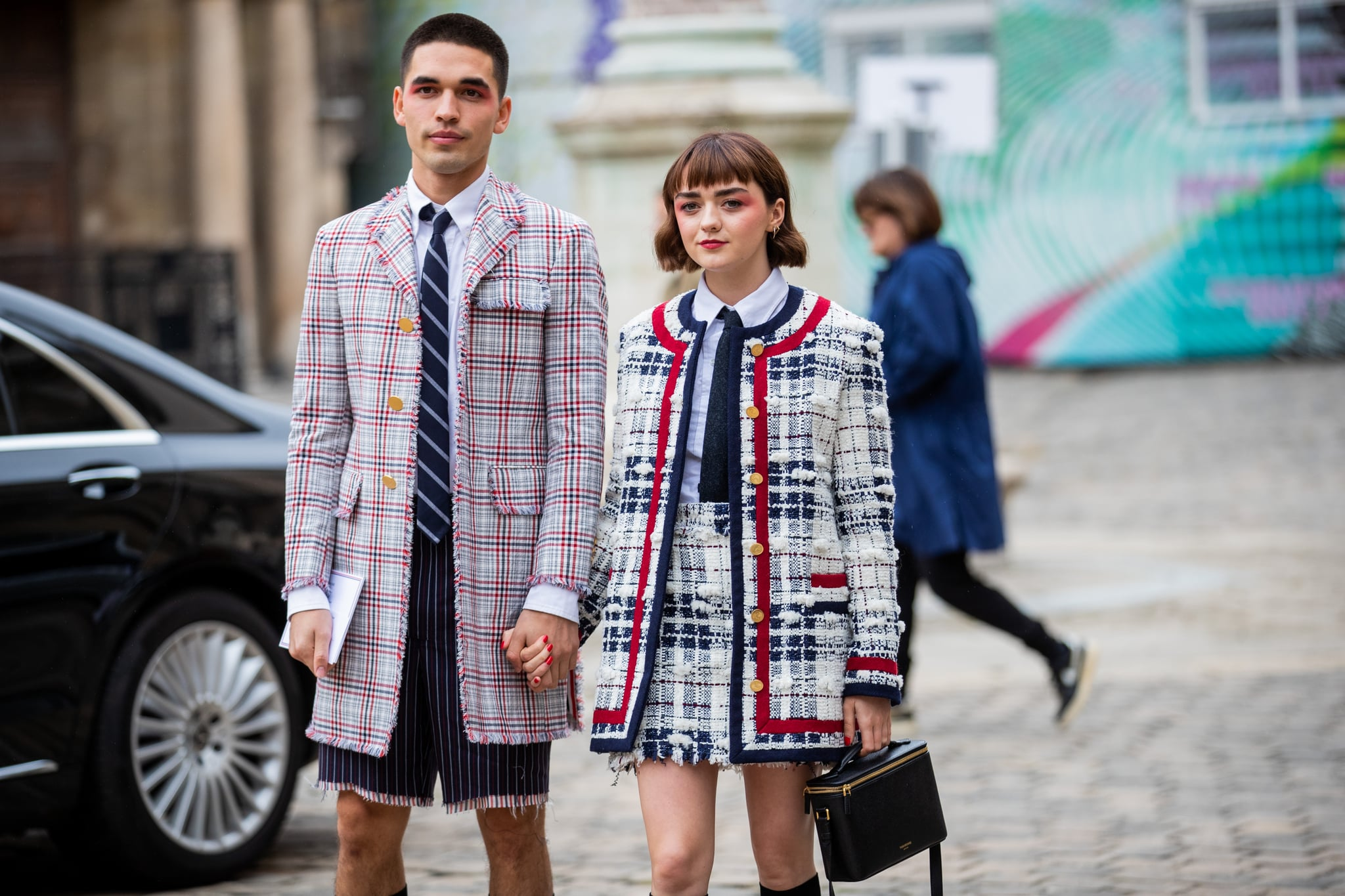 PARIS, FRANCE - SEPTEMBER 29: Couple Reuben Selby and Maisie Williams seen outside Thom Browne during Paris Fashion Week Womenswear Spring Summer 2020 on September 29, 2019 in Paris, France. (Photo by Christian Vierig/Getty Images)