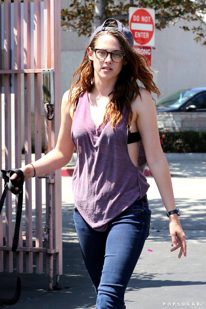 Kristen Stewart was dressed casually in jeans and a tank top.