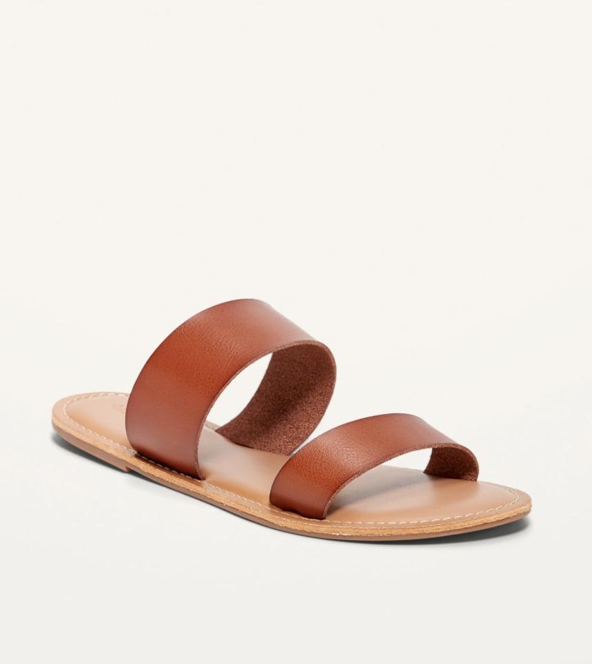 Faux-Leather Double-Strap Slide Sandals