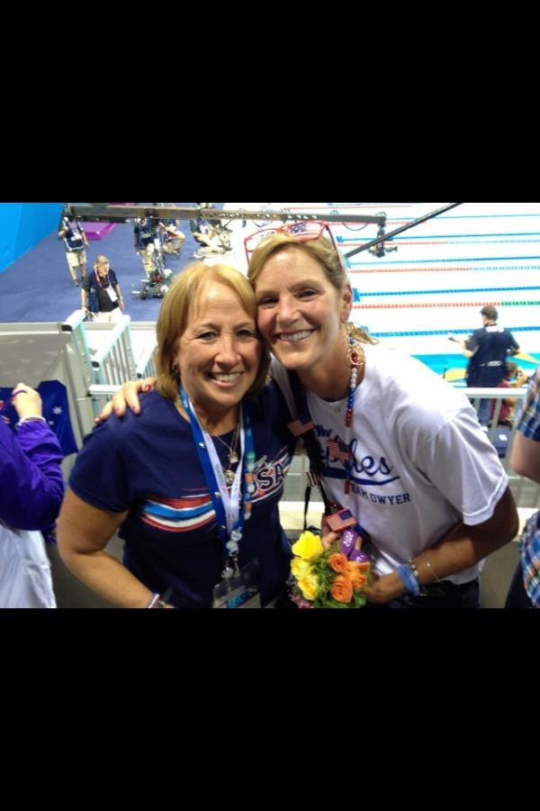 Ryan Lochte and Conor Dwyer's moms celebrated their sons' gold medal wins.  Source: Twitter user esqright