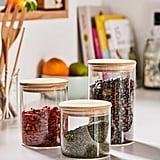 Large Wooden Lid Glass Storage Jar