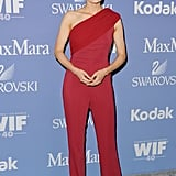 Stana Katic wore a red jumpsuit.