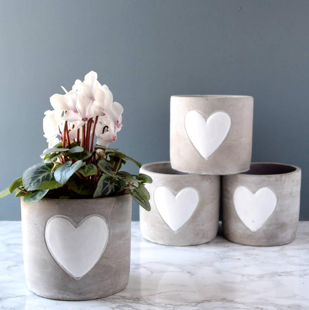 Whitewashed Stone Plant Pot