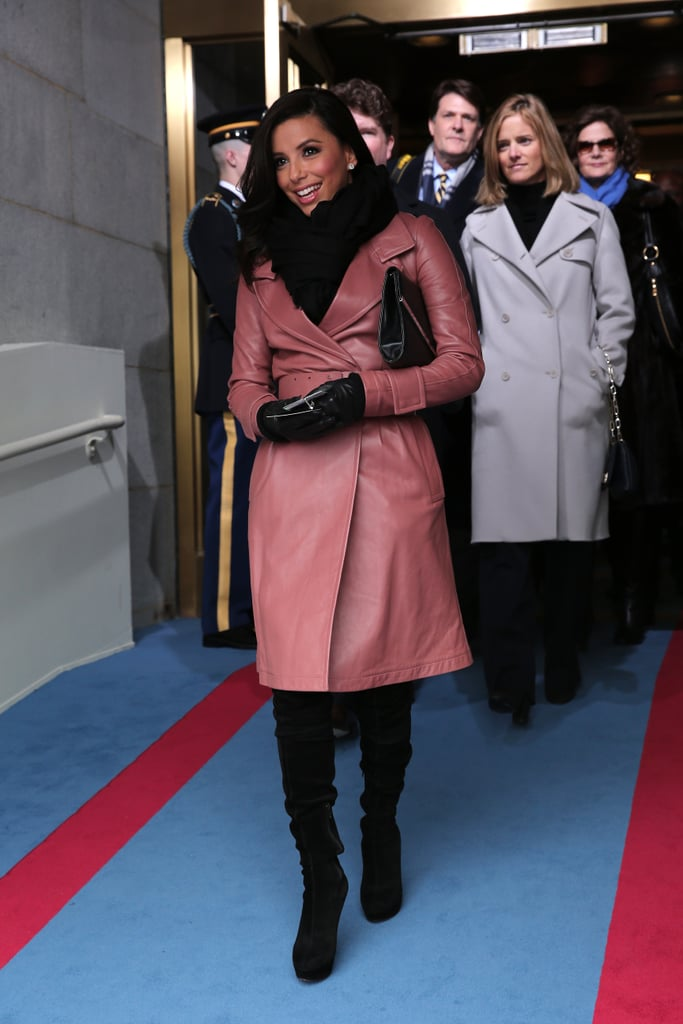 Eva Longoria wore a pink coat to President Obama's 2013 inauguration.