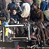 Cameras got a tight shot of Kristen and Chris filming a scene for Snow White and the Huntsman.