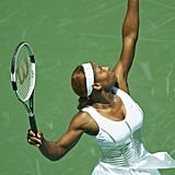 Serena Williams Wearing a Corseted Top at the Nasdaq 100 in 2004