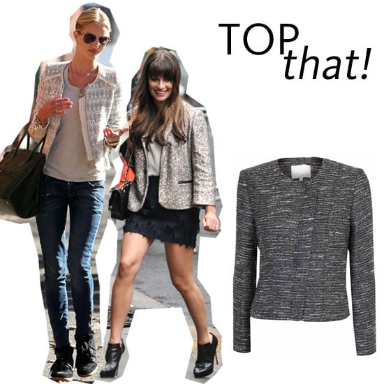Most Wanted: A Metallic Tweed Jacket, As Worn by Rosie Huntington-Whiteley and Lea Michele: Shop the Trend!